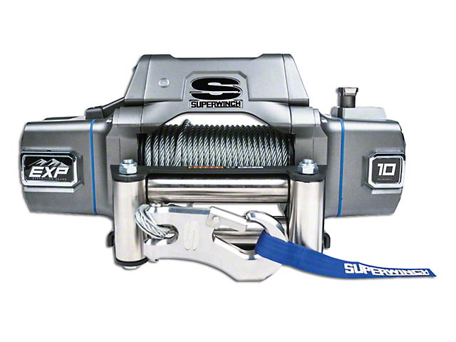 superwinch exp series 10,000 lb  winch w/ wire rope & center mount solenoid  box