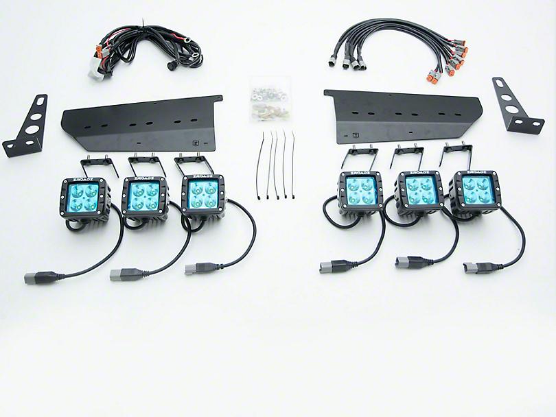 ZRoadz Six 3 in. LED Light Pods w/ Front Bumper Side Opening Mounting Brackets (17-18 F-150 Raptor)