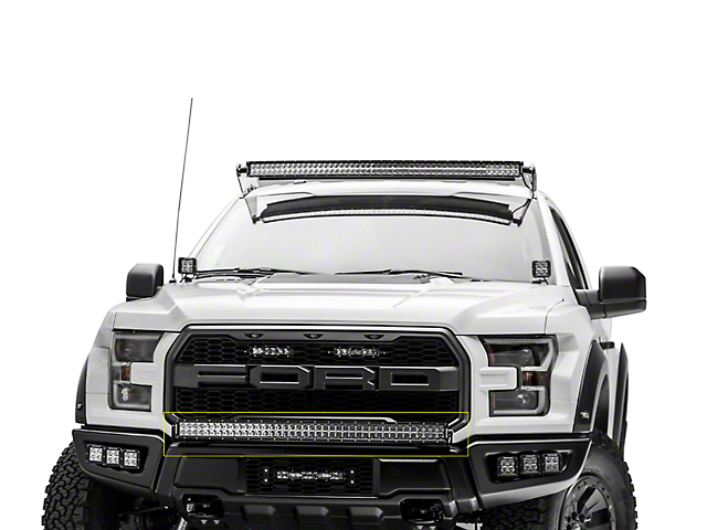 Zroadz f 150 front bumper 40 in curved led light bar mounting curved led light bar mounting brackets 17 18 f 150 raptor mozeypictures