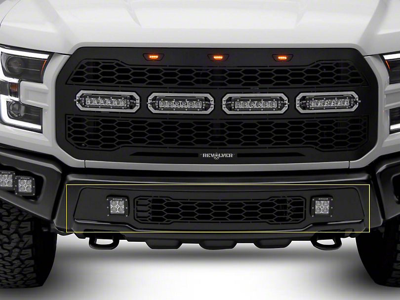 T-REX Revolver Series Lower Bumper Replacement Grille w/ 3 in. LED Cube Lights - Black (17-18 Raptor)