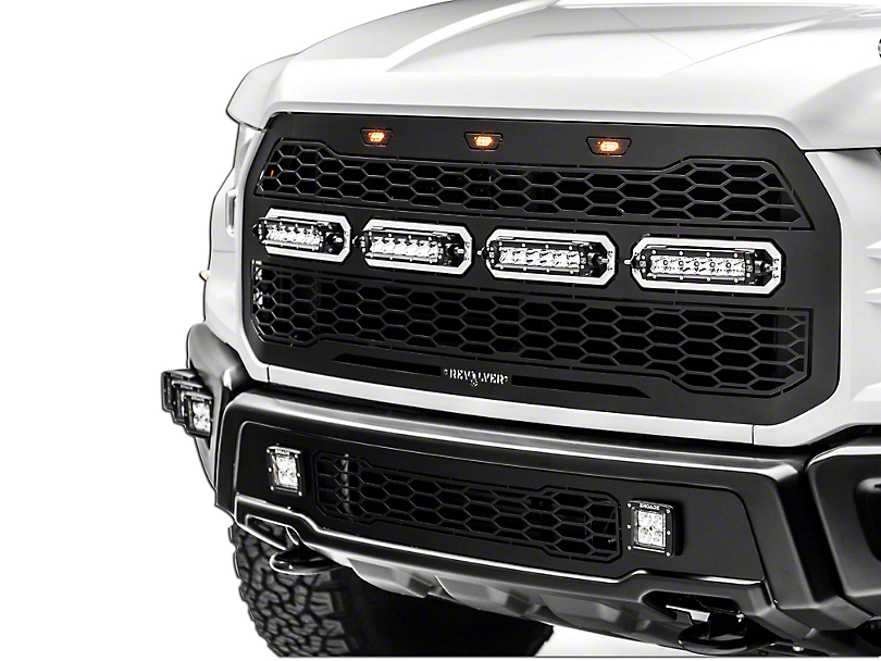 T-REX Revolver Series Upper Replacement Grille w/ 6 in. LED Light Bars - Black (17-18 Raptor)