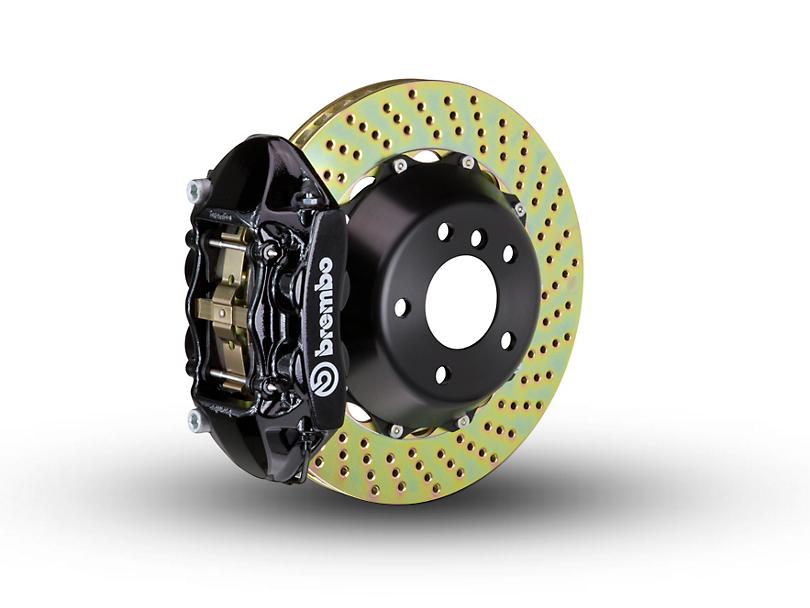 Brembo GT Series 4-Piston Rear Brake Kit - 2-Piece Cross Drilled Rotors - Black (15-18 All, Excluding Raptor)