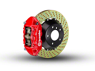 Brembo GT Series 4-Piston Rear Brake Kit - 2-Piece Cross Drilled Rotors - Red (15-18 F-150, Excluding Raptor)