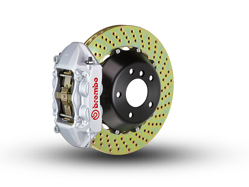 Brembo GT Series 4-Piston Rear Brake Kit - 2-Piece Cross Drilled Rotors - Silver (15-18 F-150, Excluding Raptor)