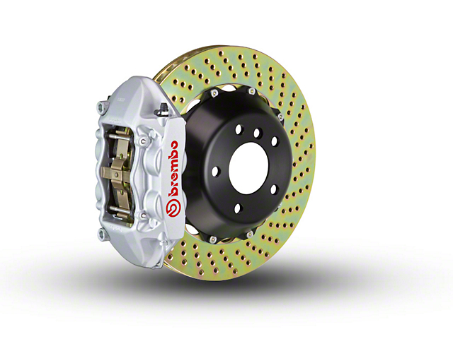 Brembo GT Series 4-Piston Rear Brake Kit - 2-Piece Cross Drilled Rotors - Silver (15-18 All, Excluding Raptor)