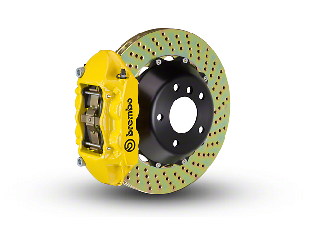 Brembo GT Series 4-Piston Rear Big Brake Kit w/ 2-Piece Cross Drilled Rotors - Yellow Calipers (15-19 F-150, Excluding Raptor)