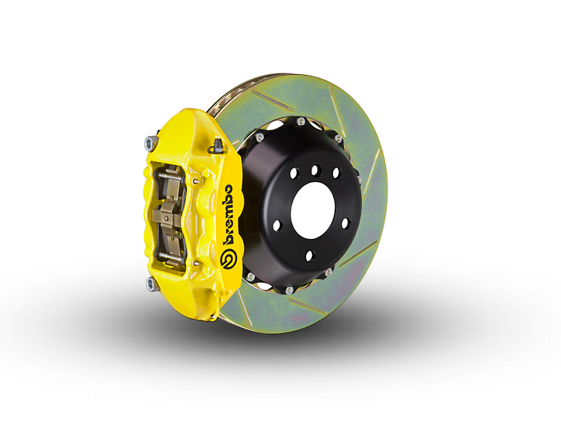 Brembo GT Series 4-Piston Rear Big Brake Kit w/ 2-Piece Slotted Rotors - Yellow Calipers (15-20 F-150, Excluding Raptor)