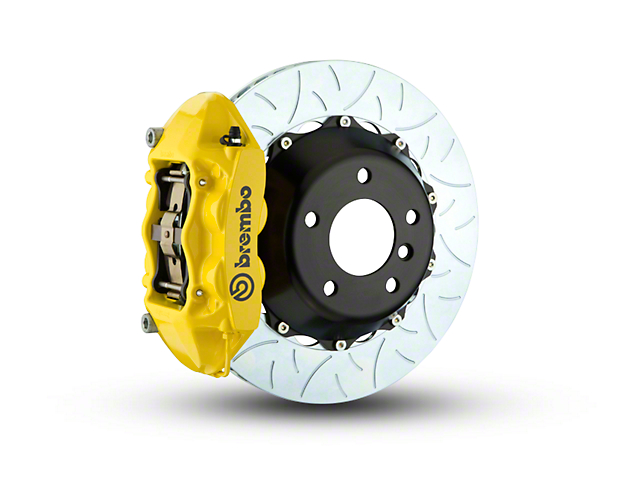 Brembo GT Series 4-Piston Rear Big Brake Kit w/ Type 3 Slotted Rotors - Yellow Calipers (15-19 F-150, Excluding Raptor)