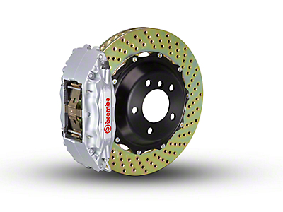 Brembo GT Series 4-Piston Front Brake Kit - 2-Piece Cross Drilled Rotors - Silver (97-03 4WD)