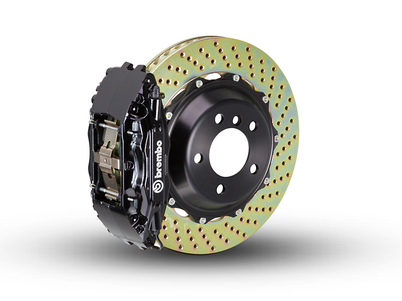 Brembo GT Series 4-Piston Front Brake Kit - 2-Piece Cross Drilled Rotors - Black (00-03 2WD F-150)