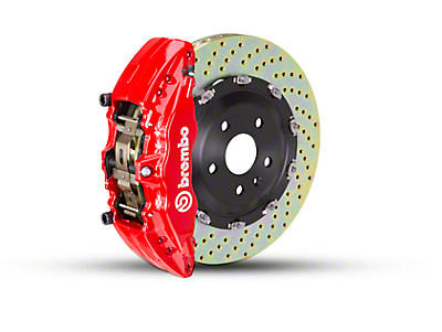 Brembo GT Series 6-Piston Front Brake Kit - 2-Piece Cross Drilled Rotors - Red (09-14 2WD)