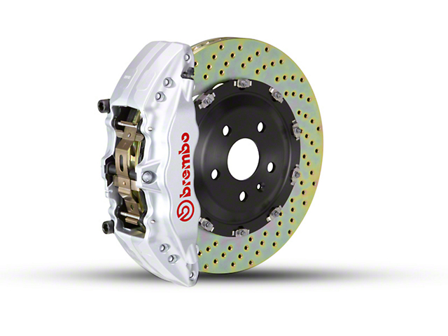 Brembo GT Series 6-Piston Front Brake Kit - 2-Piece Cross Drilled Rotors - Silver (09-14 2WD)
