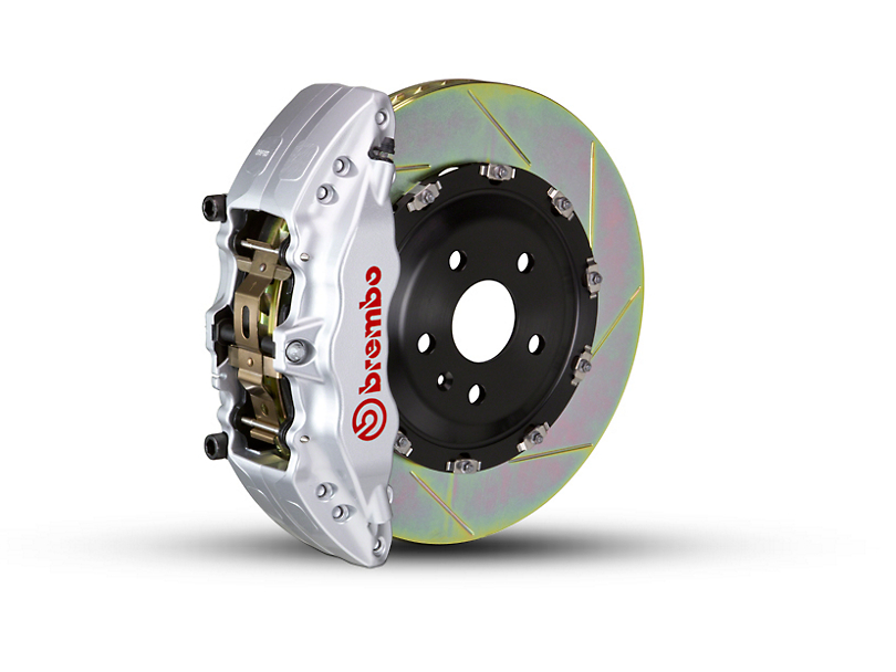 Brembo GT Series 6-Piston Front Brake Kit - 2-Piece Slotted Rotors - Silver (09-14 2WD)
