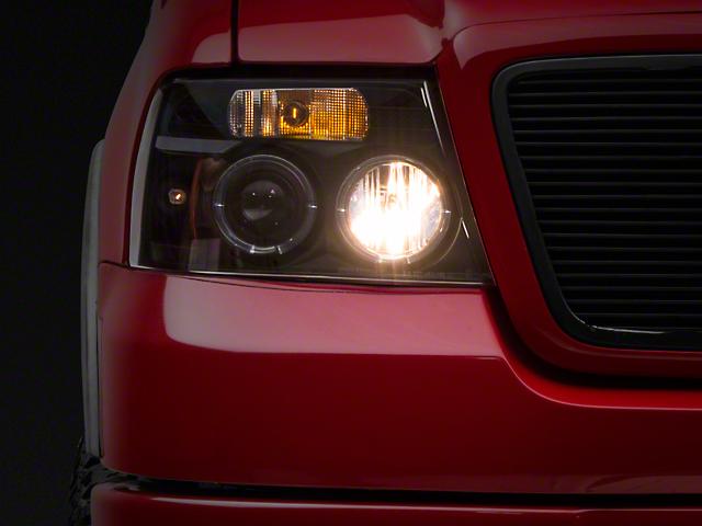 Halo Projector Headlights; Black (04-08 F-150)