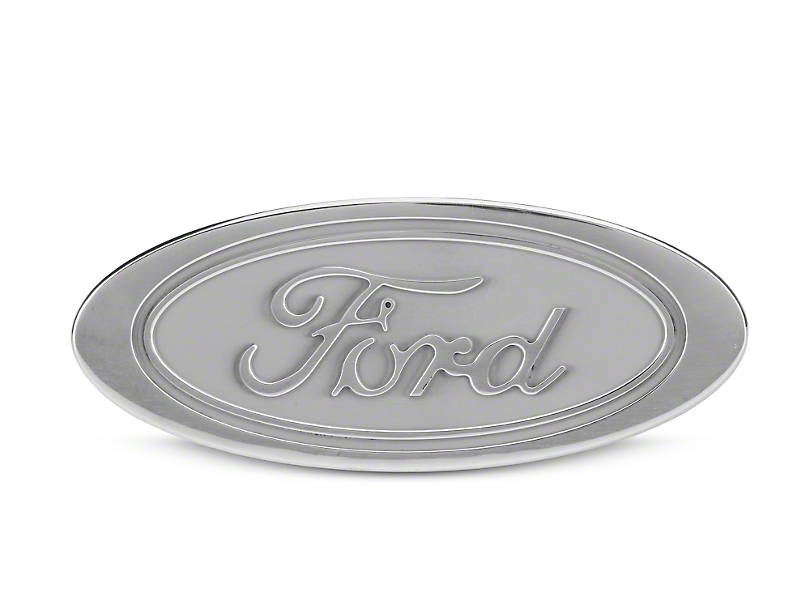 Defenderworx Oval Ford Script Hitch Cover - Silver (97-18 All)