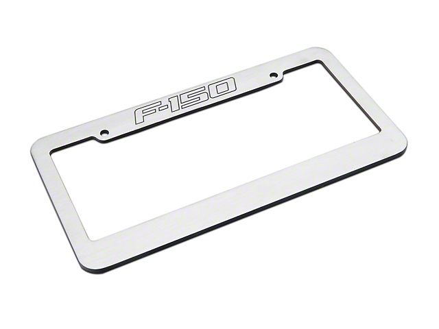 Defenderworx Brushed License Plate Frame w/ F-150 Logo (97-18 F-150)