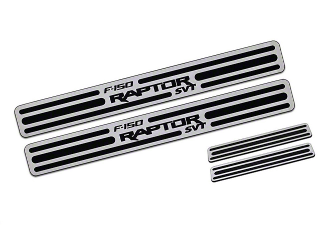 Front & Rear Dool Sill Plates w/ Raptor Logo - Brushed (11-14 F-150 Raptor SuperCrew)