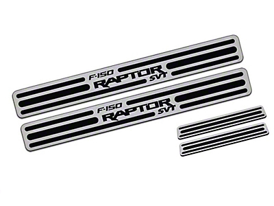 Defenderworx Front & Rear Dool Sill Plates w/ Raptor Logo - Brushed (11-14 F-150 Raptor SuperCrew)