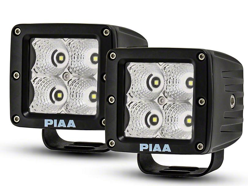 PIAA 3 in. Quad Series LED Cube Lights - Flood Beam - Pair (97-18 All)