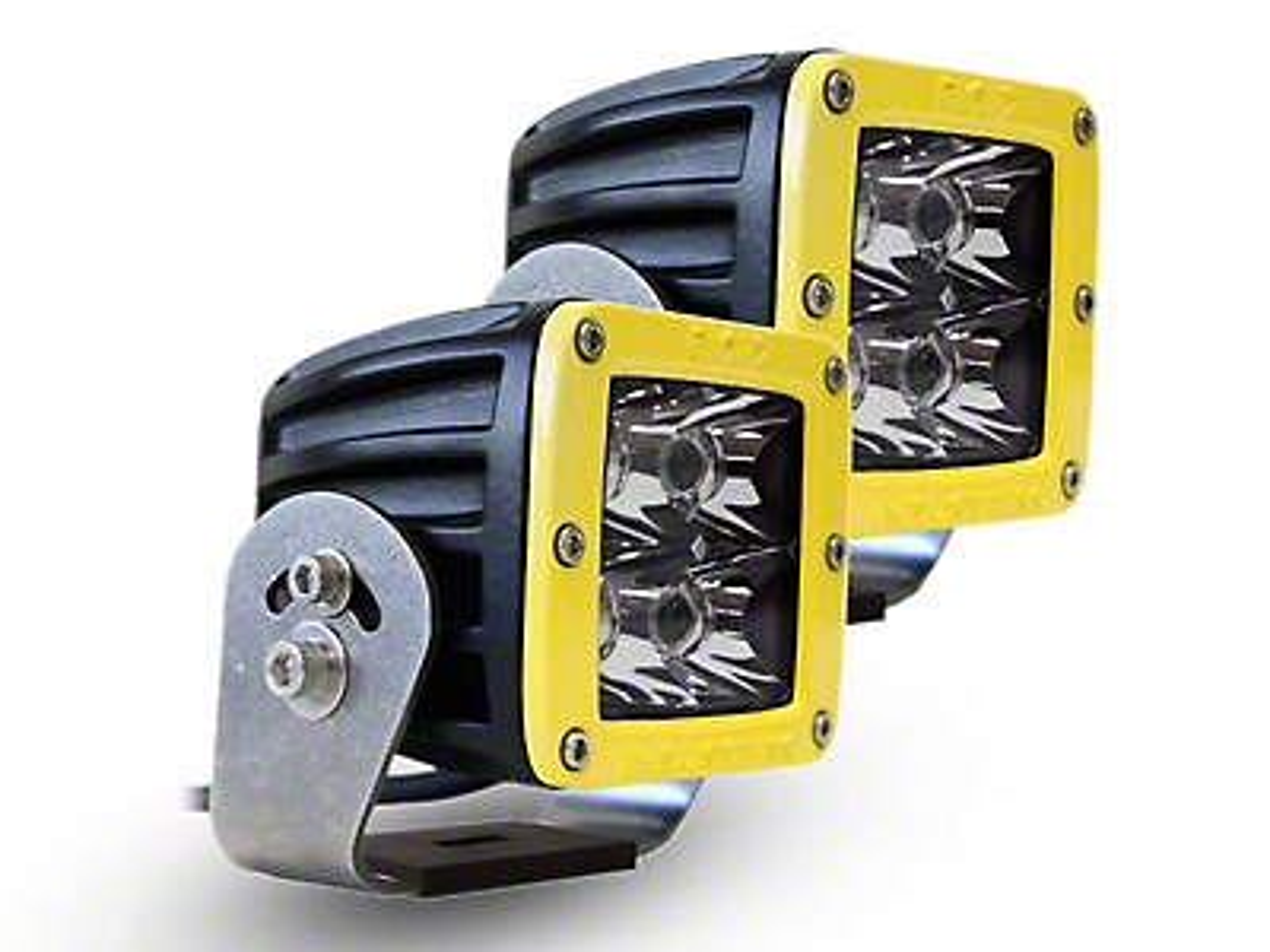 Rigid Industries D-Series HD Amber LED Cube Lights w/ Yellow Surround - Spot Beam - Pair (97-18 F-150)
