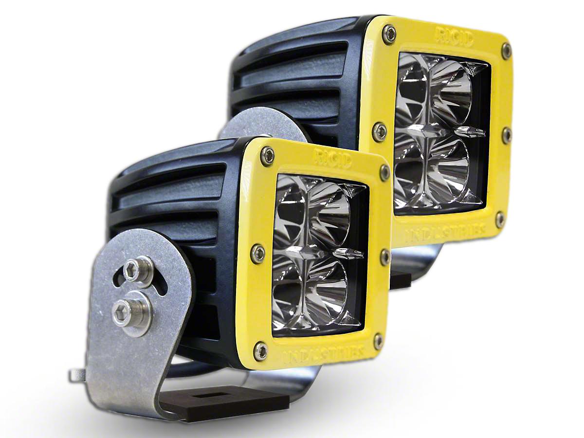 Rigid Industries D-Series HD LED Cube Lights w/ Yellow Surround - Flood Beam - Pair (97-18 All)