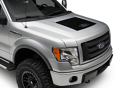 Matte Black Hood Decal w/ Ford Logo (09-14 All, Excluding Raptor)