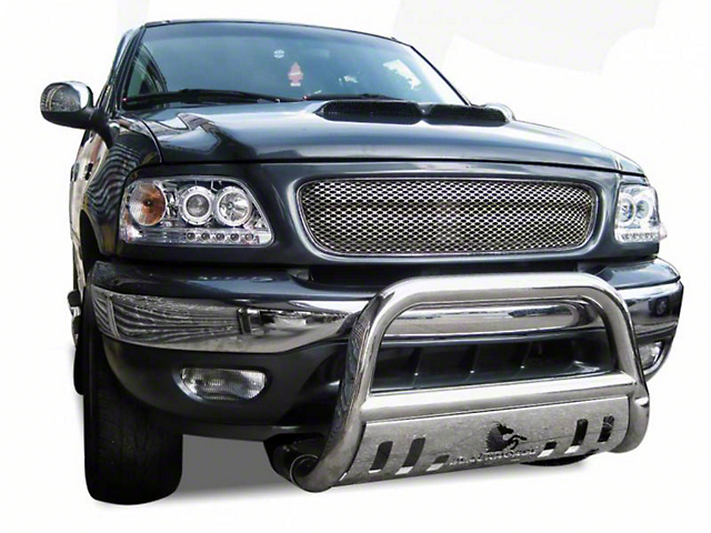 Black Horse Off Road Bull Bar w/ Skid Plate - Stainless Steel (97-03 All)