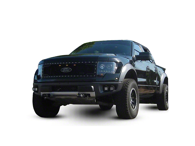 Royalty Core RC2 Twin Mesh Upper Replacement Grille w/ Ford Emblem - Black (10-14 F-150 Raptor)