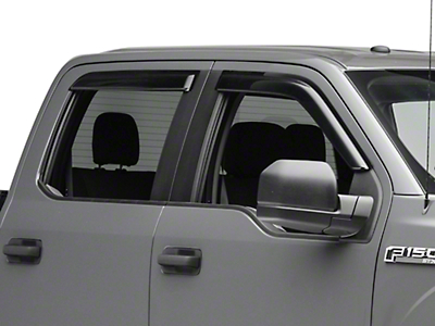 Black Horse Off Road Smoke Rain Guards - Front & Rear (15-19 F-150 SuperCab, SuperCrew)