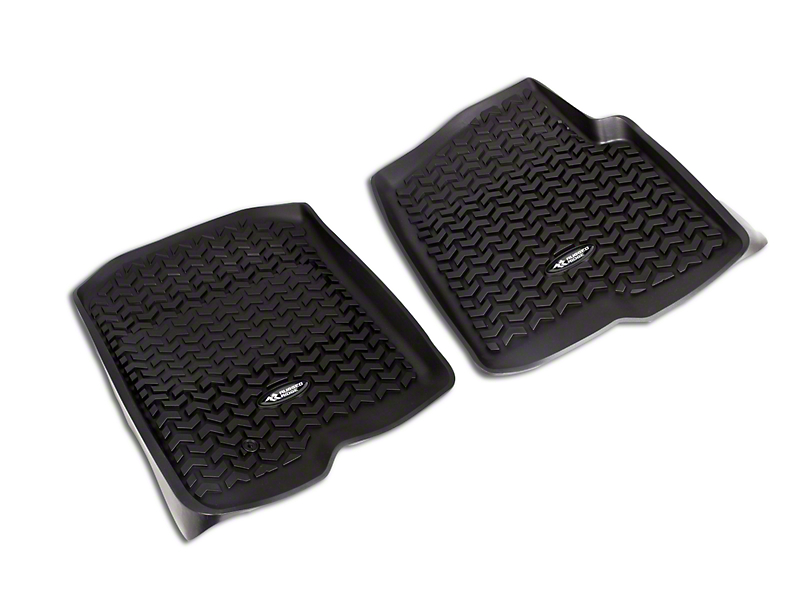 Rugged Ridge All-Terrain Front & 2nd Row Floor Liners - Black (04-08 F-150 SuperCab, SuperCrew)