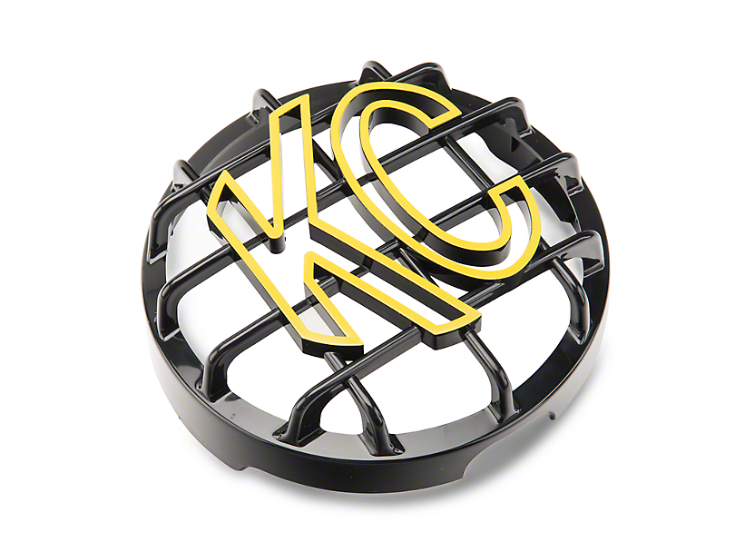 KC HiLiTES 6 in. Round Stone Guard for Daylighter & Slimlite - Black w/ Yellow KC Logo (97-19 F-150)