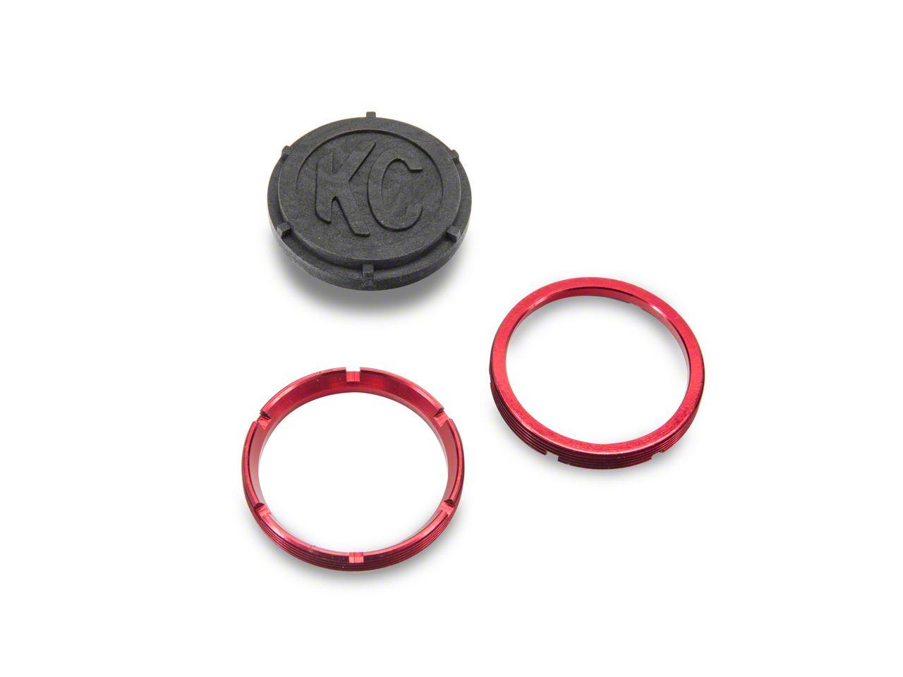 KC HiLiTES Red Bezel Ring for Flex LED - Pair