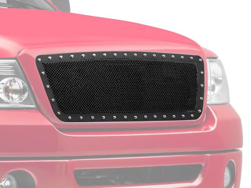 Modern Billet Wire Mesh Upper Grille Insert w/ Frame & Rivets - Black (04-08 F-150)
