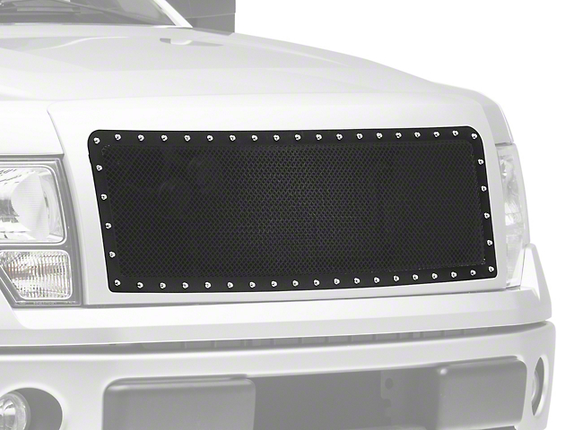 Modern Billet Wire Mesh Upper Grille Insert w/ Frame & Rivets - Black (09-14 F-150, Excluding Raptor)
