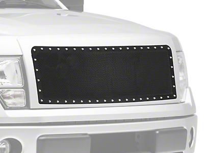Modern Billet Wire Mesh Upper Grille Insert w/ Frame & Rivets - Black (09-14 F-150, Excluding Raptor)
