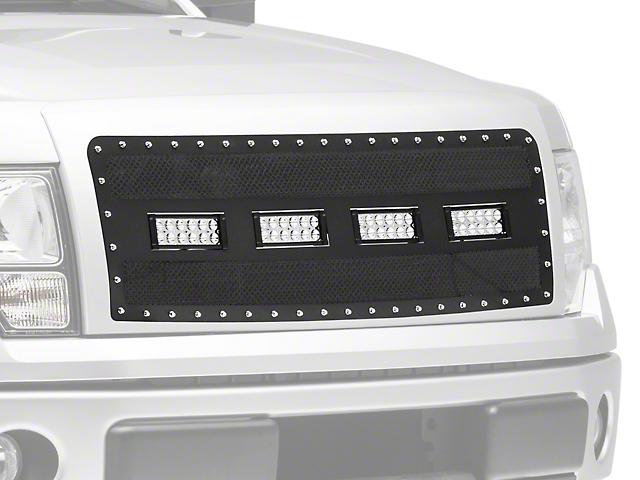 Modern Billet Wire Mesh Upper Grille Insert w/ Frame, Rivets & LED Lighting - Black (09-14 F-150, Excluding Raptor)