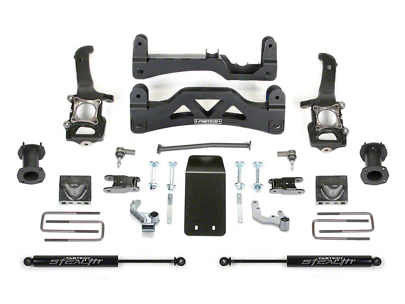 Fabtech 6 in. Basic Lift System w/ Front Stock Coilover Spacers & Rear Stealth Shocks (2014 4WD F-150 SuperCrew, Excluding Raptor)