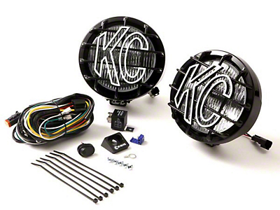KC HiLiTES 6 in. Black SlimLite Halogen Lights - Spot Beam - Pair