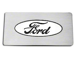 Stainless Ford Oval Logo Glove Box Trim; Black Carbon Fiber Inlay (09-14 F-150)