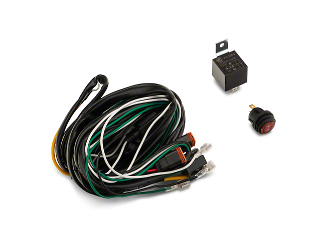 kc hilites wiring harness w/ 40 amp relay & led rocker switch