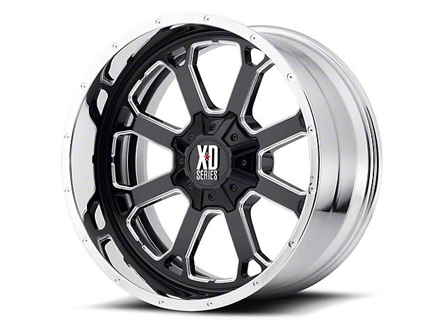 XD Buck 25 Gloss Black Milled with Chrome Lip 6-Lug Wheel; 22x10; -18mm Offset (15-20 F-150)