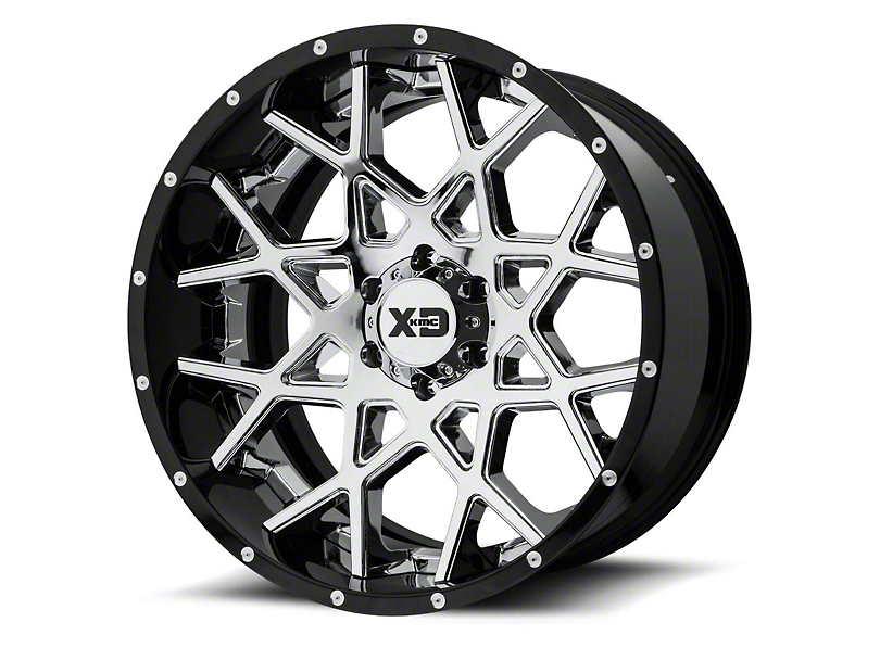 XD Chopstix Chrome w/ Gloss Black Milled Lip 6-Lug Wheel - 22x10; -18mm Offset (15-19 F-150)