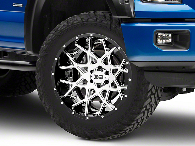 XD Chopstix Chrome w/ Gloss Black Milled Lip 6-Lug Wheel - 22x12; -44mm Offset (15-19 F-150)
