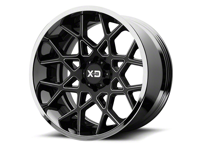 XD Chopstix Gloss Black Milled w/ Chrome Lip 6-Lug Wheel - 22x10; -18mm Offset (15-19 F-150)