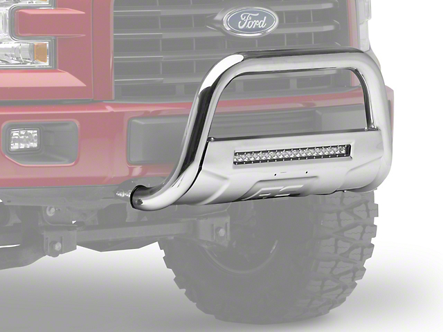 Rough Country Bull Bar with LED Light Bar; Stainless Steel (04-21 F-150, Excluding EcoBoost & Raptor)