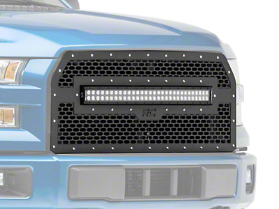 Rough Country Mesh Upper Replacement Grille w/ 30 in. Black Series LED Light Bar - Black (15-17 F-150, Excluding Raptor)