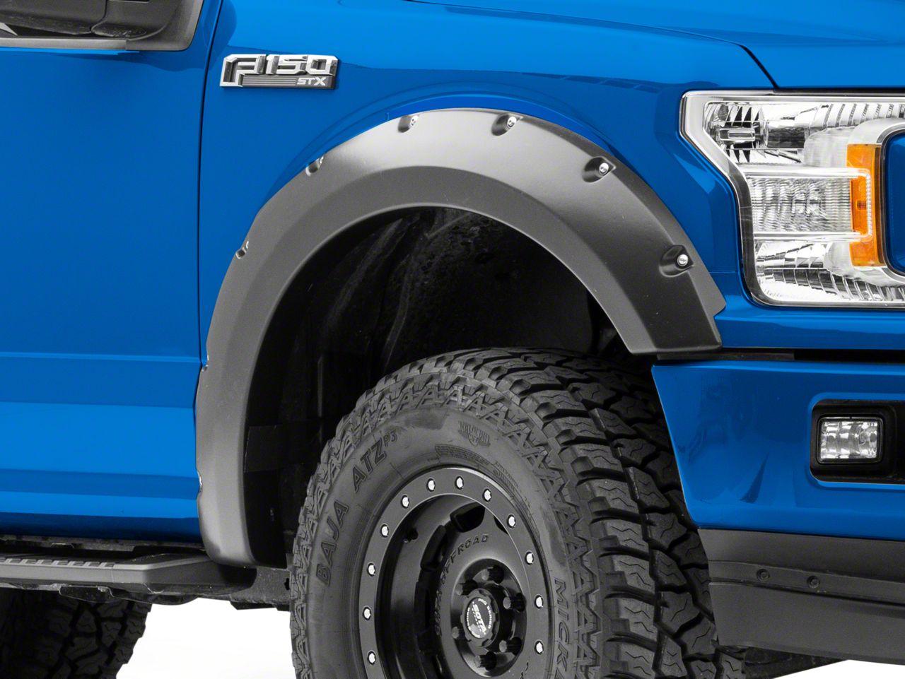 For 18-20 Ford F150 Rough Textured Pocket Rivet Bolt-On Style Fender Flares 4PC