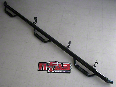 N-Fab Wheel 2 Wheel Bed Access Nerf Side Step Bars - Textured Black (09-14 F-150 SuperCab w/ 6.5 ft. & 8 ft. Bed)