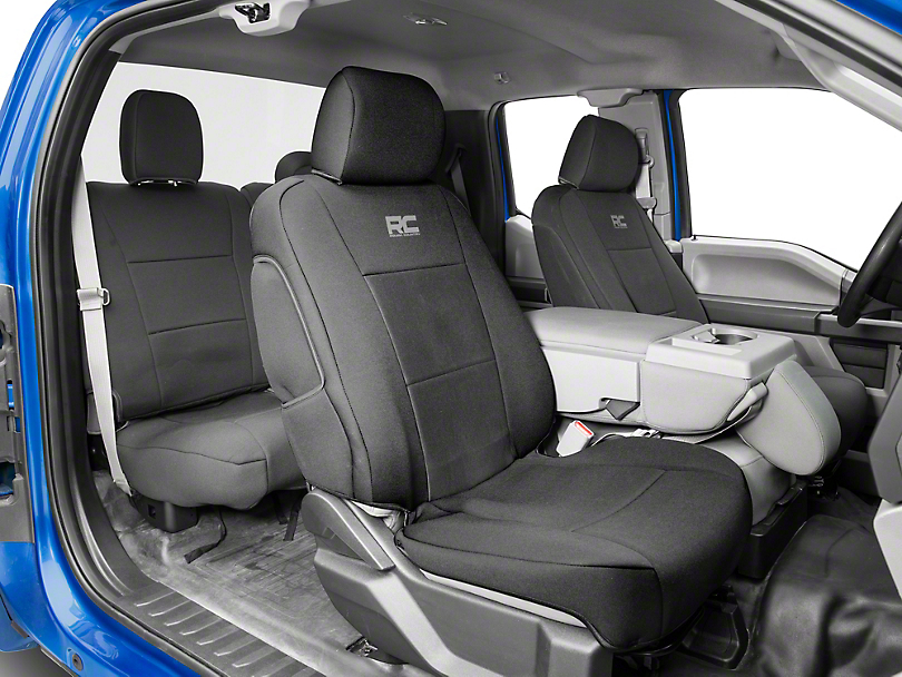 Rough Country Neoprene Front & Rear Seat Covers - Black (15-19 F-150 SuperCab, SuperCrew)