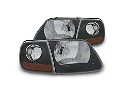 G2 Euro Headlights with Parking Lights; Black (97-03 F-150)